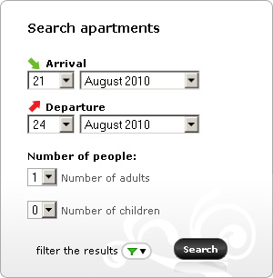 To choose an apartment from the  LeoApart homepage,  you need to use the search window